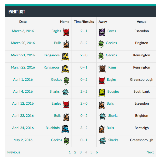 sportspress pro screenshot event list - Sports Club & League Website design